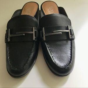 Franco Sarto leather mules. Black